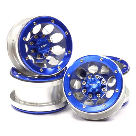 (Integy RC Toy Model Hop-ups C24961BLUE 2.2 Size Billet Machined Alloy 9H Beadlock Wheel (4) for Scale Off-Road Crawler)