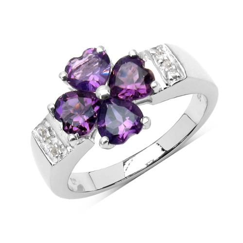 Olivia Leone Sterling Silver 1 7/8ct Amethyst and White Topaz Ring Size-7, Purple