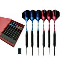 22g 6pcs Darts Professional Dart Set Steel Tip Dart Shaft Barrel Flight+Extra 3 Shafts w/ Case Indoor Pub Games
