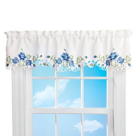 Delicate Embroidered Roses Window Valance Curtains - Seasonal Window Accent for Any Room in Home