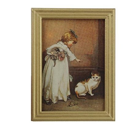 Miniature Painting - Dollhouse Miniature Frame Girl and Cat Mural Wall Painting 1:12 by Generic