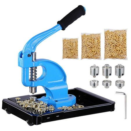 - Yescom 3 Dies(#0/#2/#4) Hand Press Grommet Machine w/ 900 Pcs Golden Grommets Eyelet & Rolling Base Tool Kit
