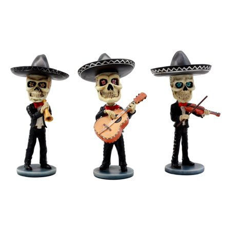 Ebros Day Of The Dead Skeleton Wedding Mariachi Band Violin Guitarron And Trumpet Player Bobblehead Figurine Set Traditional Folklore Mexican Musician Band