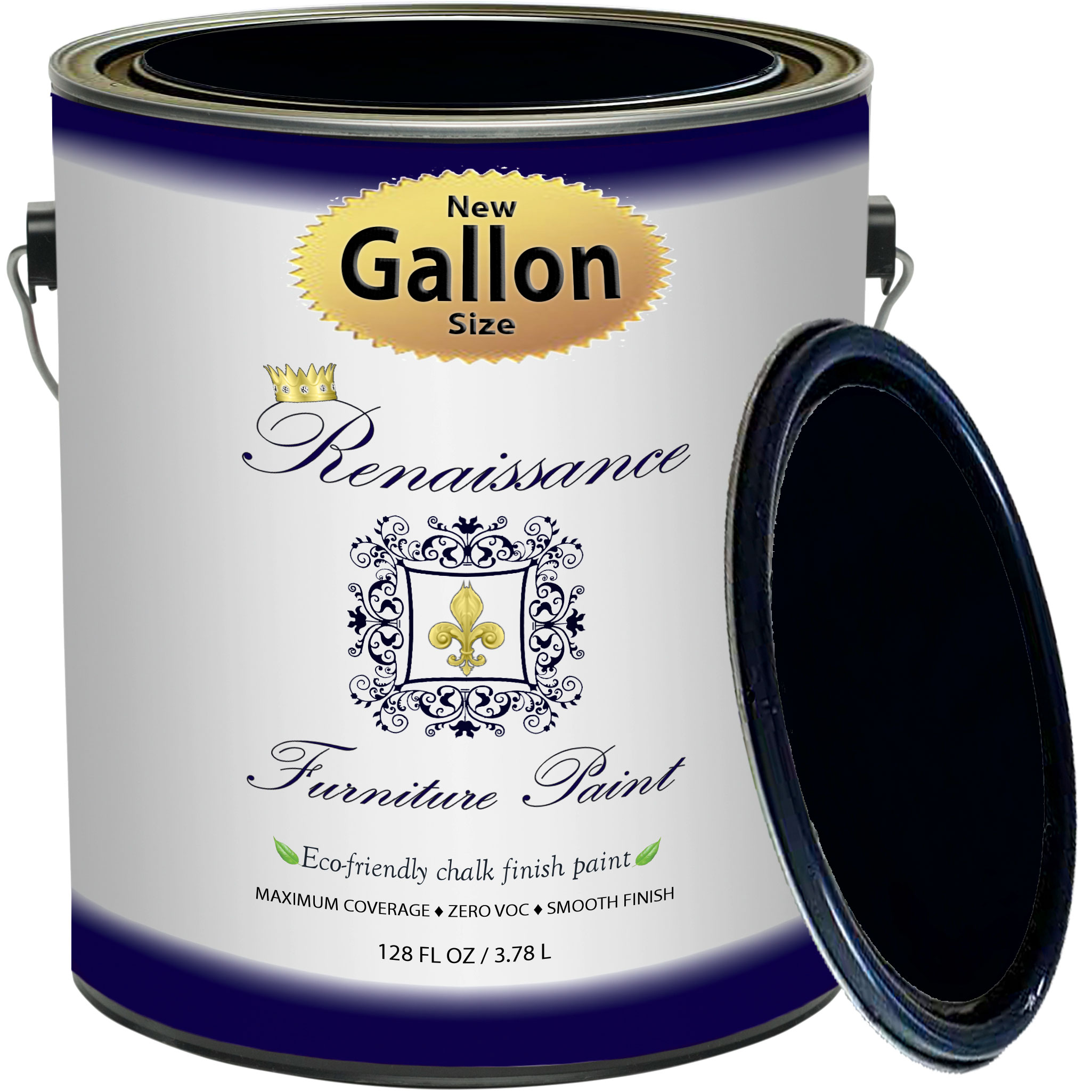 Renaissance Chalk Finish Paint - Midnight Black Gallon (128oz) - Chalk Furniture & Cabinet Paint - Non Toxic, Eco-Friendly, Superior Coverage