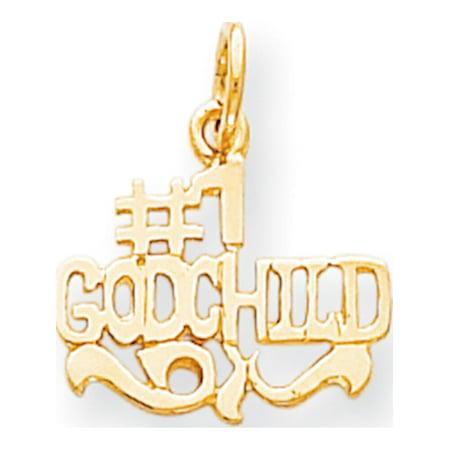 Godchild Gift - Leslies Fine Jewelry Designer 10k Yellow Gold #1 Godchild (16x20mm) Pendant Gift Box Included
