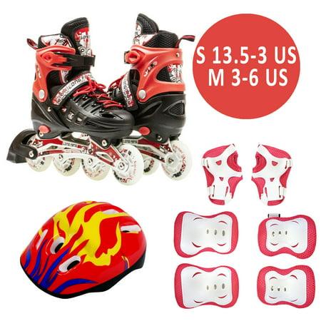 Size 13.5J-2 Kids Adjustable Inline Skates 6 PCS Protective Gear Helmet Complete Roller Set