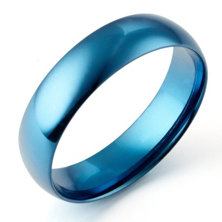 Gemini Women's Dome Blue Anniversary Promise Wedding Titanium Ring width 4mm US Size 5.75 Valentine's Day (Blue Titanium)