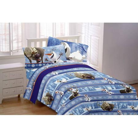 disney 39 s frozen olaf 3 piece flannel twin sheet set. Black Bedroom Furniture Sets. Home Design Ideas