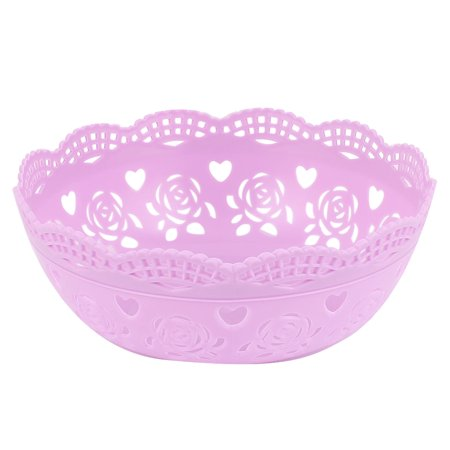 Unique Bargains Round Plastic Bamboo Pattern Fruit Apple Pear Container Plate Tray Purple ()