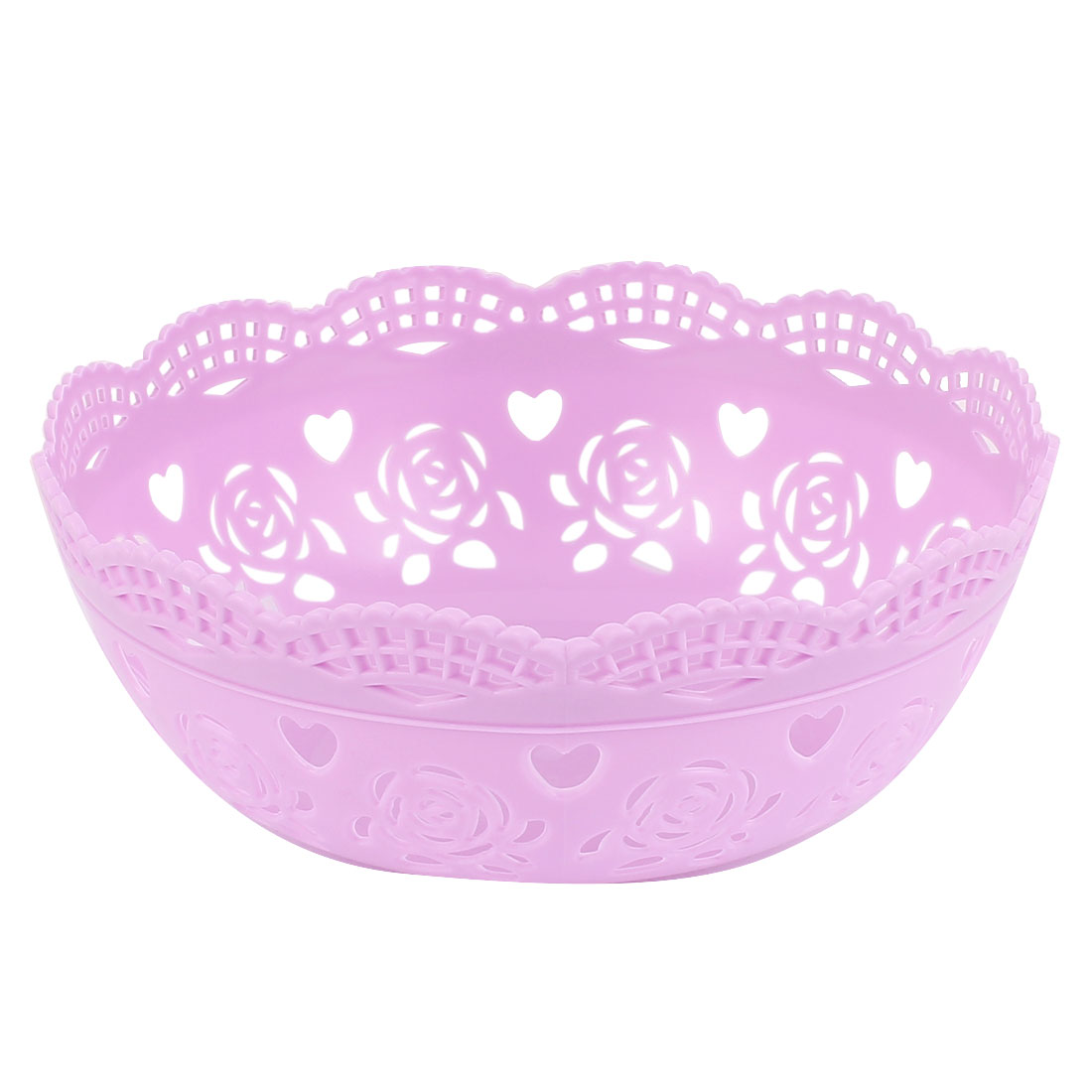 Unique Bargains Round Plastic Bamboo Pattern Fruit Apple Pear Container Plate Tray Purple