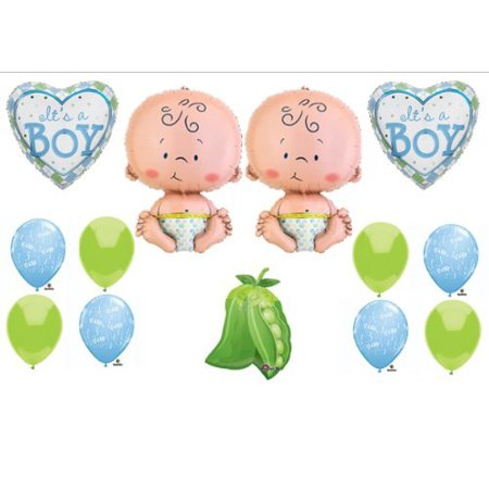 Two Peas in a Pod Twin Baby BOYS shower Balloon Decorating Kit Supplies