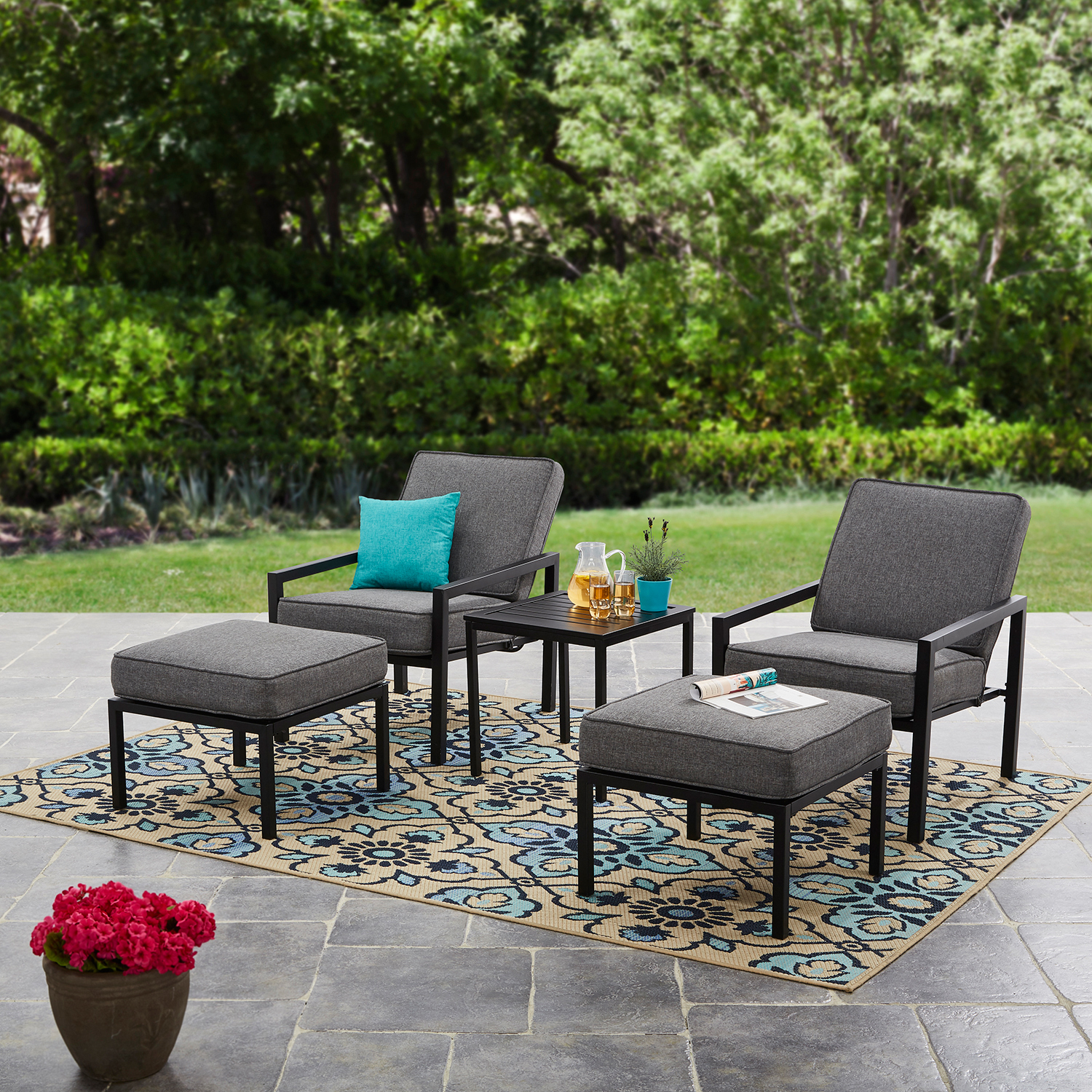 Mainstays Moss Falls 5pc Outdoor Chat Set With Gray Cushions