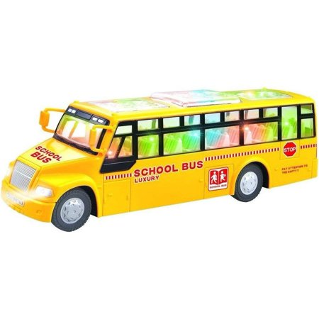 ToyZe Yellow School Bus Toy, with Flashing Lights and Sounds, Bump and Go - Dollar Toys