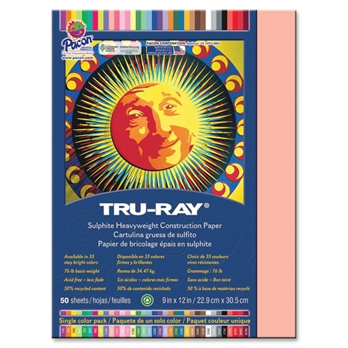 Pacon Tru-Ray Construction Paper, 9 x 12, 50 Sheets, Available in Multiple Colors