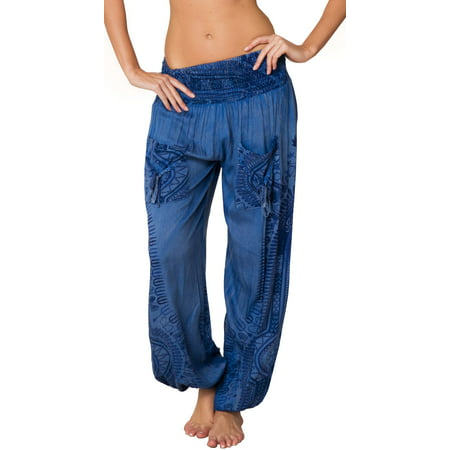 Smocked Harem Pants Hippie Bohemian Casual Gypsy Print Yoga Baggy Boho