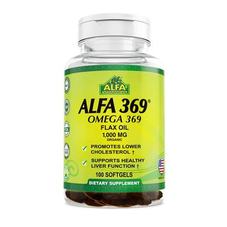 Image of Alfa Vitamins Alfa 369 Omega-3-6-9 Flax Oil Softgels, 1000 Mg, 100 Ct