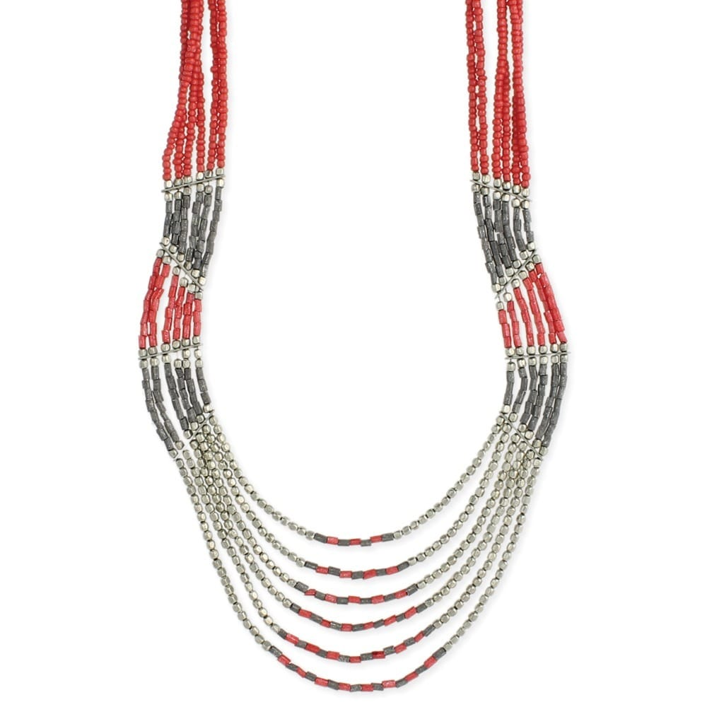 Coral Dyed Glass Bead Handmade Multistrand Necklace (India)