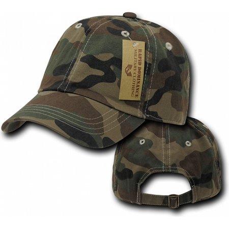 RapDom Camo Vintage Washed Mens Polo Cap [Woodland Camouflage - Adjustable]