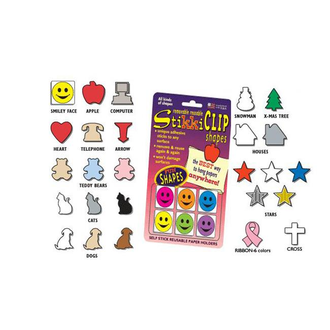 StikkiWorks 15199 Stikkiclip Shapes 6-Card - Star-Mixed-Gold & Silver Sparkle