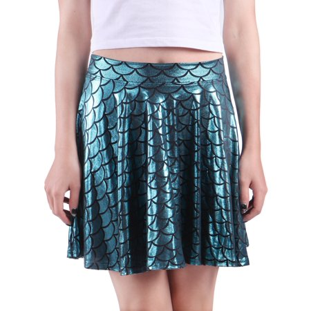 2df7eab4d HDE - HDE Womens Shiny Mermaid Fish Scale Mini Flared Pleated Skater Skirt ( Teal, Large) - Walmart.com