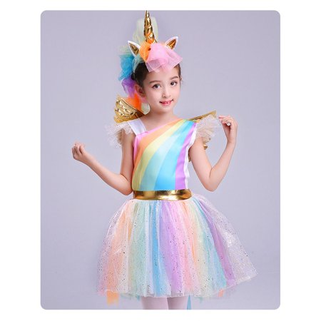 Unique Girls' Deluxe Rainbow Unicorn Costume Halloween Everyday Cosplay - Sewn Up Mouth Halloween