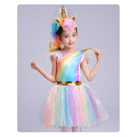 Unique Girls' Deluxe Rainbow Unicorn Costume Halloween Everyday Cosplay Dress-Up (Old Dress Halloween Costume)