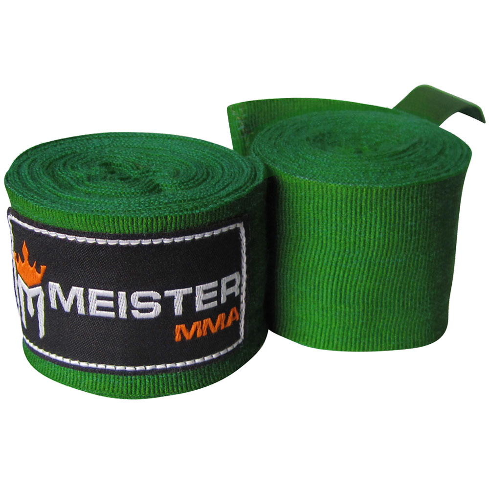 "Meister 180"" Semi-Elastic MMA Hand Wraps (Pair) - Forest Green"