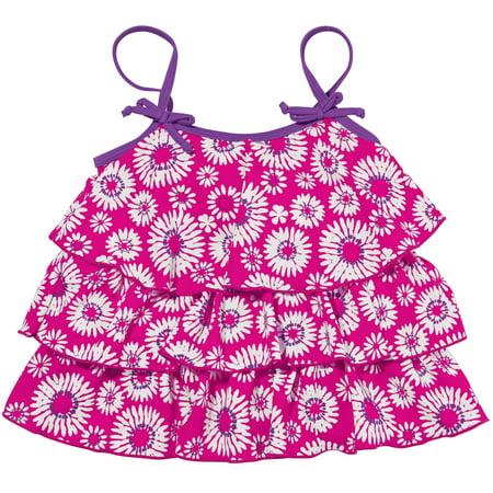 Sun Smarties Baby and Toddler Girl Tankini - Hot Pink Floral Design - Sleeveless Swim Top