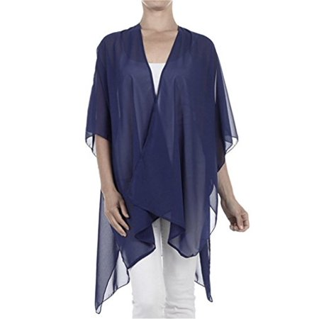 1c4caba005 TC Solid Sheer Chiffon Kimono Cardigan Kaftan Sweater Top Shirt Navy Blue -  Walmart.com