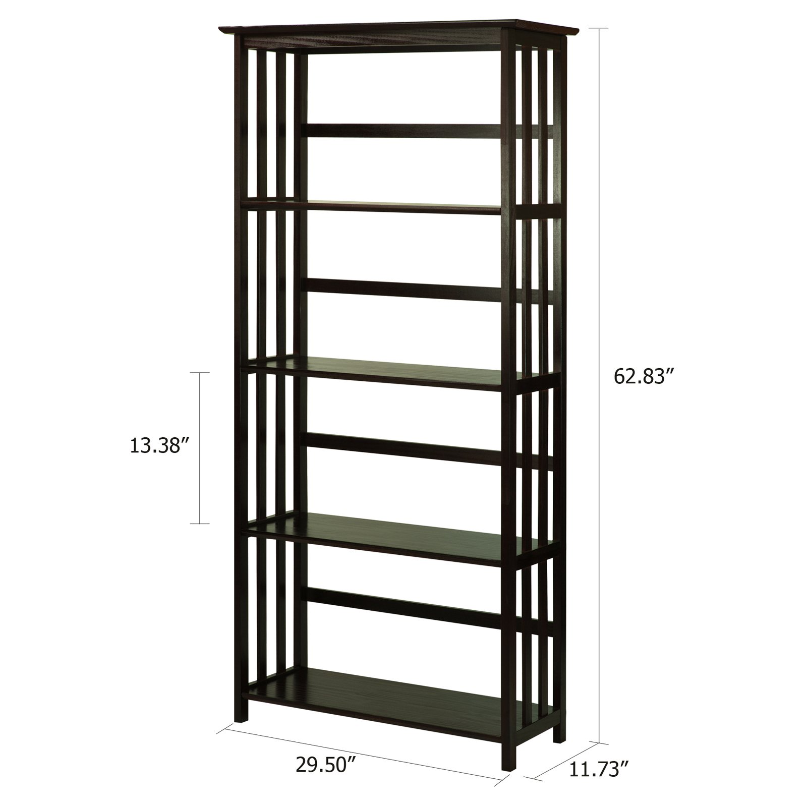 Mission Style 5tier Wood Bookcase