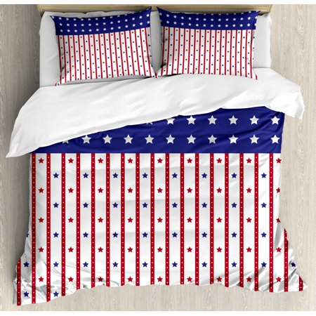 USA Duvet Cover Set, American Flag with Stars and Stripes Nationality Independence Day Theme, Decorative Bedding Set with Pillow Shams, Violet Blue Ruby White, by Ambesonne Blue White Bedding