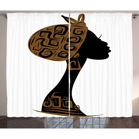 African Woman Curtains 2 Panels Set, Face Profile Silhouette Woman with Headscarf Tribal Art Folk Elements, Window Drapes for Living Room Bedroom, 108W X 108L Inches, Brown Black White, by Ambesonne