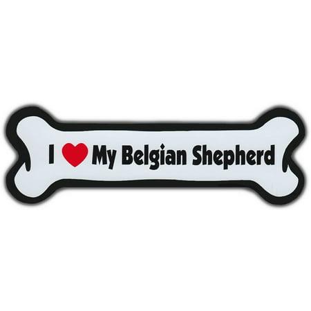 Dog Bone Magnet: I Love My Belgian Shepherd   Dogs Doggy Puppy   Sheepdog Sheep