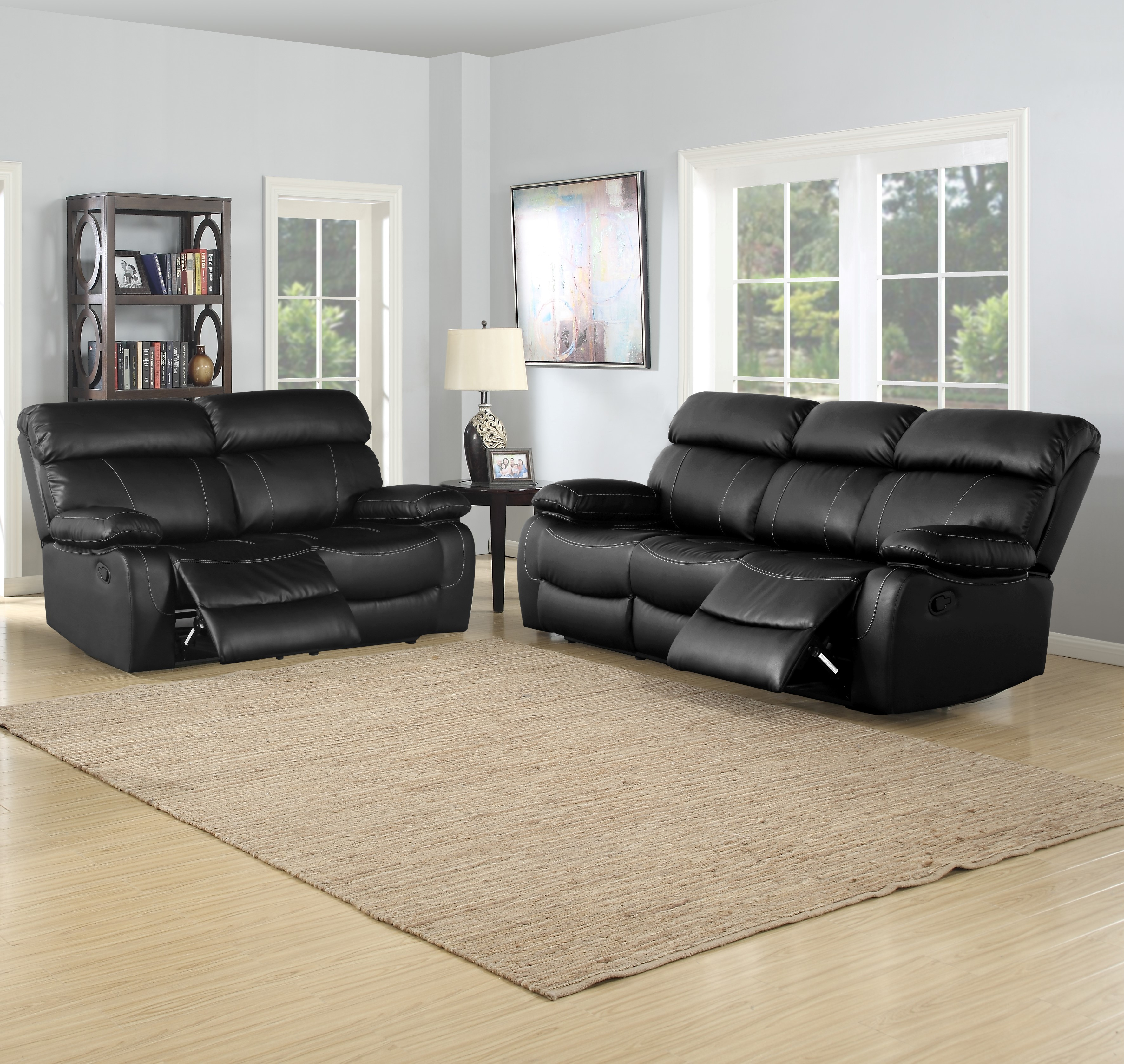 Wilson black reclining 2 pc modern sofa, loveseat