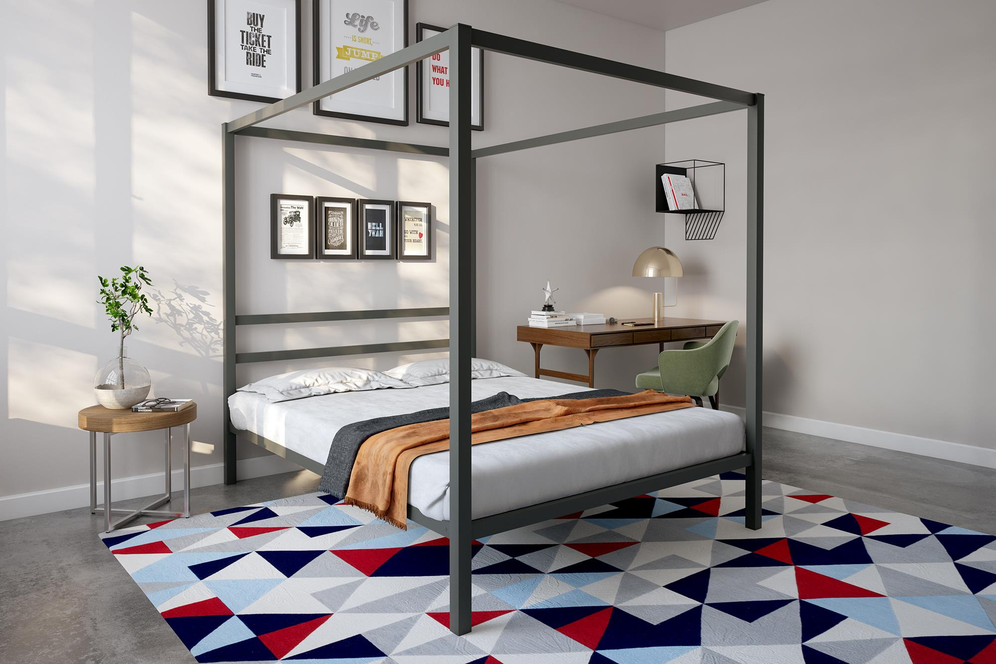 DHP Modern Canopy Bed, Gunmetal Gray, Multiple Sizes   Queen