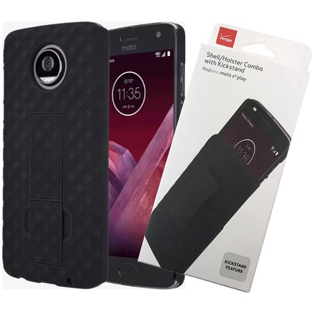 VERIZON ORIGINAL BLACK SHELL CASE KICKSTAND + BELT CLIP HOLSTER FOR MOTO Z2 PLAY