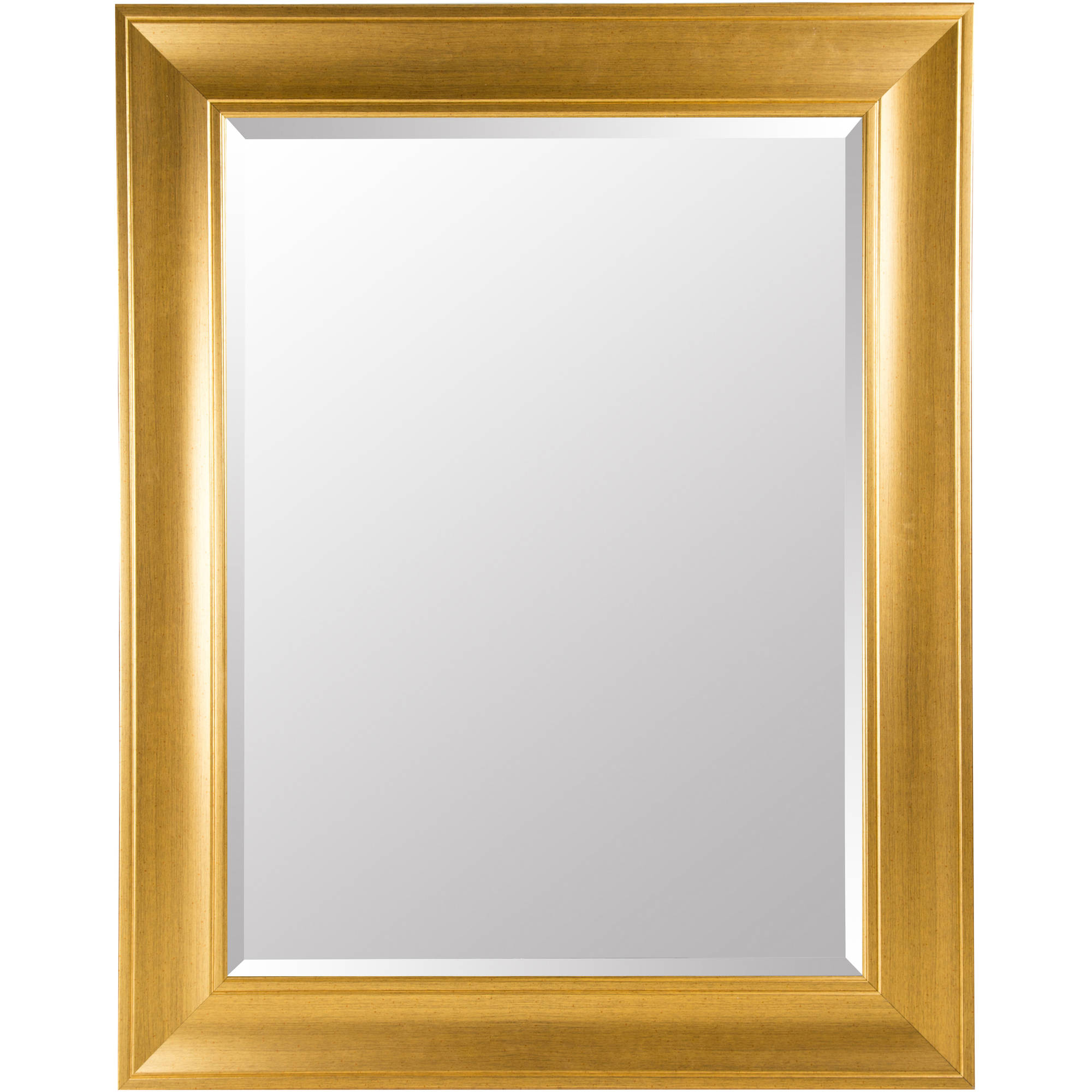 """Gold 39"""" x 49"""" Beveled Mirror with Wide Profile"""