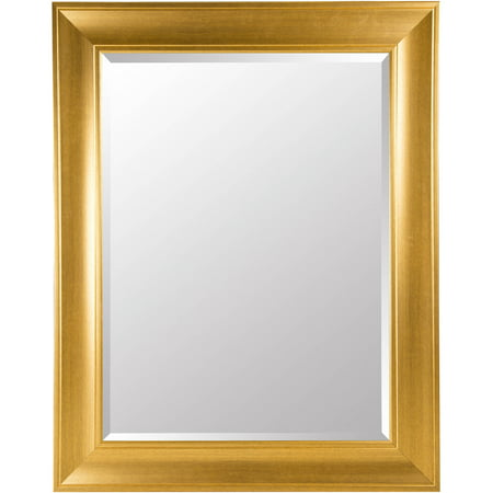 Gallery Solutions Beveled Wall Mirror with Antique Gold Frame 39