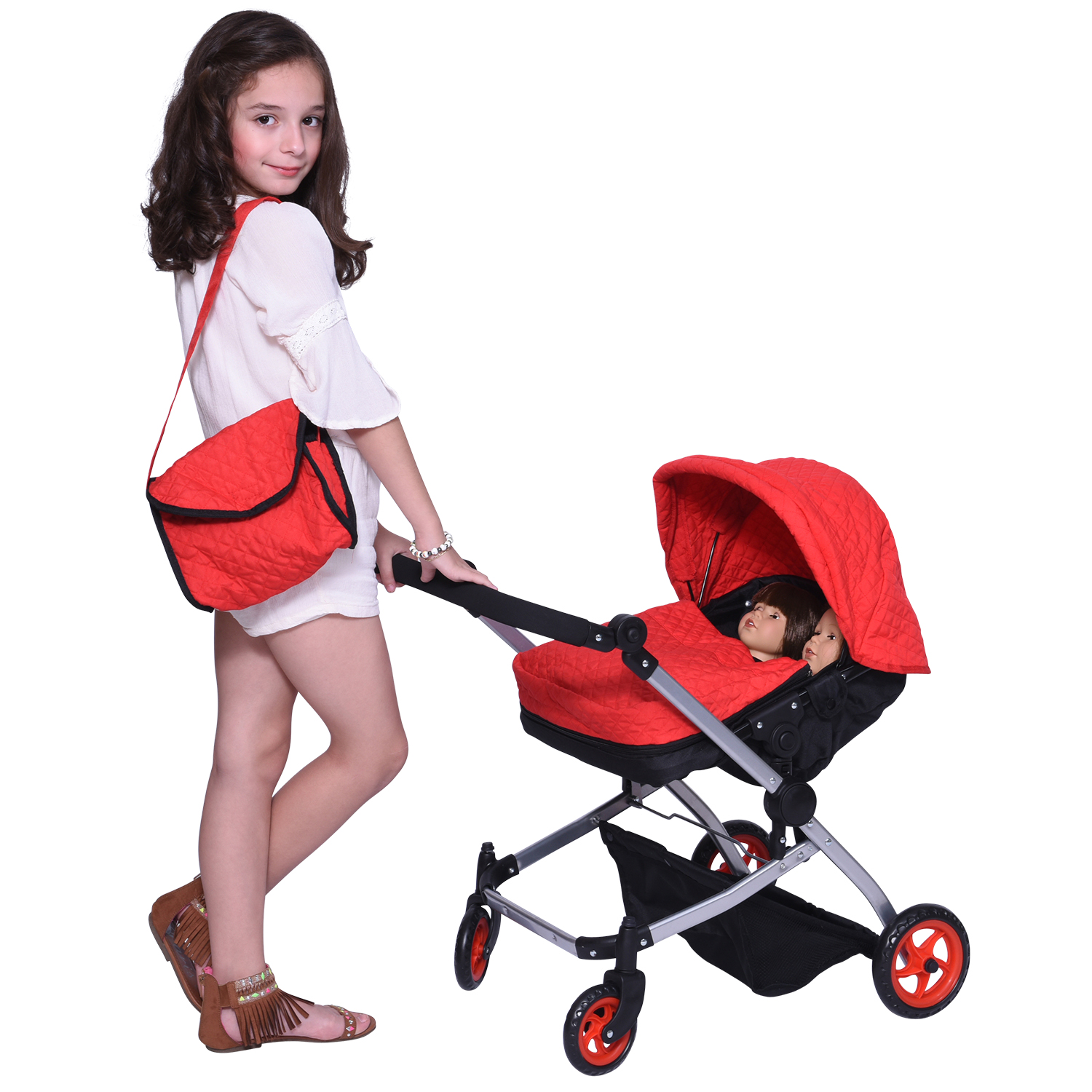Modern Twin Deluxe Baby Boo Stroller, Red Quilted Fabric, Adjustable Height Free Diaper Bag by The New York Doll Collection