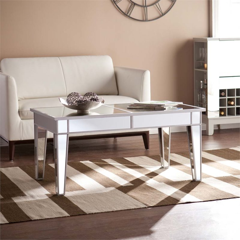 Southern Enterprises Mirage Mirrored Coffee Table in Distressed Silver