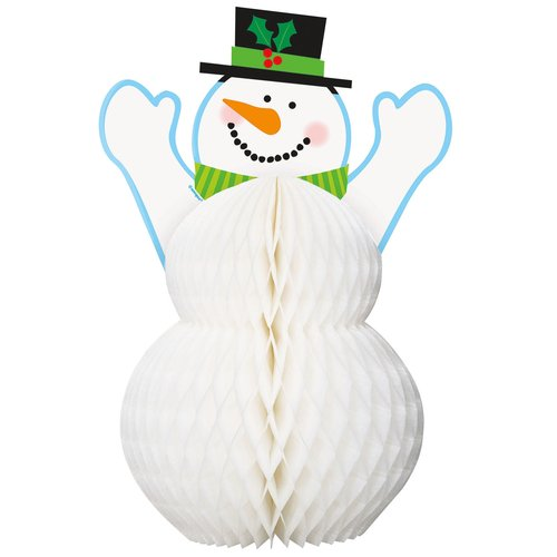 "12"" Honeycomb Holiday Snowman Decoration"
