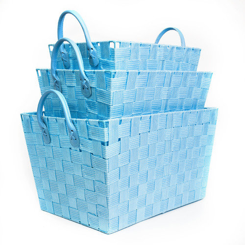 Sweet Home Collection 3 Piece Woven Storage Baskets with Handles (Set of 3)