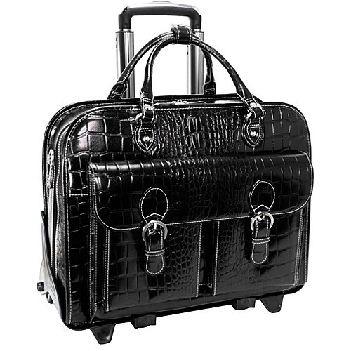 Ladies Detachable-Wheeled Laptop Briefcase in Black (Black)