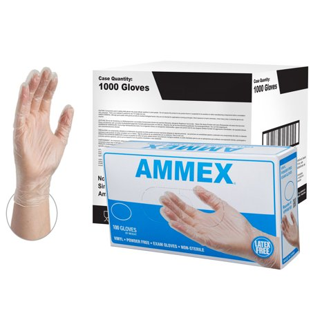 AMMEX Vinyl Latex Free Medical Disposable Gloves, Large, Clear, 1000/Case - Individual Latex Free Tourniquets