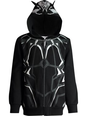 Marvel Avengers Black Panther Boys' Zip-Up Costume Hoodie, Silver (5)
