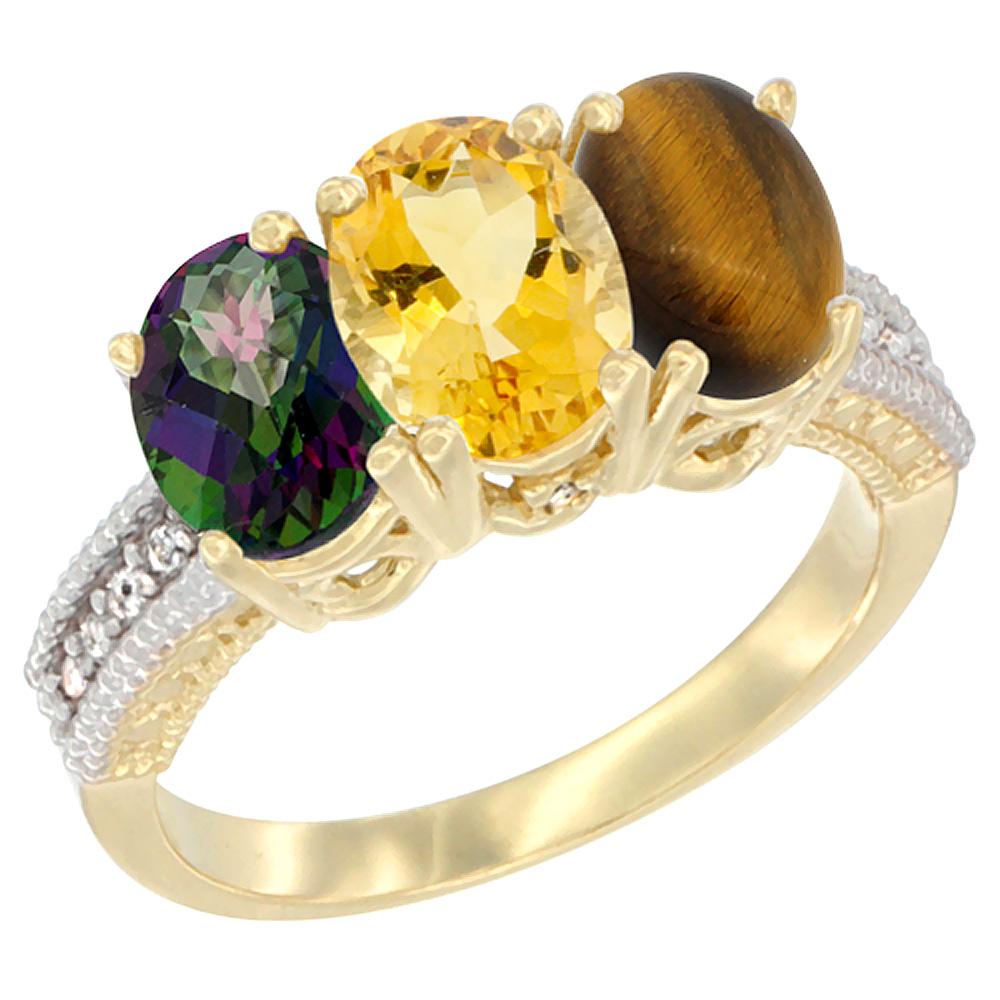 10K Yellow Gold Diamond Natural Mystic Topaz, Citrine & Tiger Eye Ring 3-Stone 7x5 mm Oval, sizes 5 10 by WorldJewels