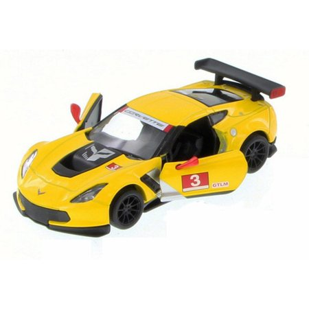 Corvette Race Car (Chevy Corvette C7 Race Car #3, Yellow w/ Decals - Kinsmart 5397D - 1/36 Scale Diecast Model Toy)