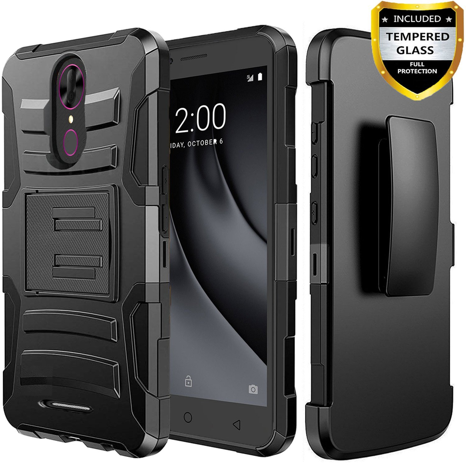 T-Mobile Revvl Plus Case, Dual Layers [Combo Holster] Phone Cover And Built-In Kickstand Bundled with [Tempered Glass Screen Protector] And Circlemalls Stylus Pen For Coolpad Revvl Plus (Black)