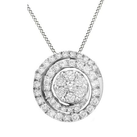 White Natural Diamond Swirl Flower Pendant Necklace in 14K Solid White Gold (3/4 (14k Diamond Swirl)