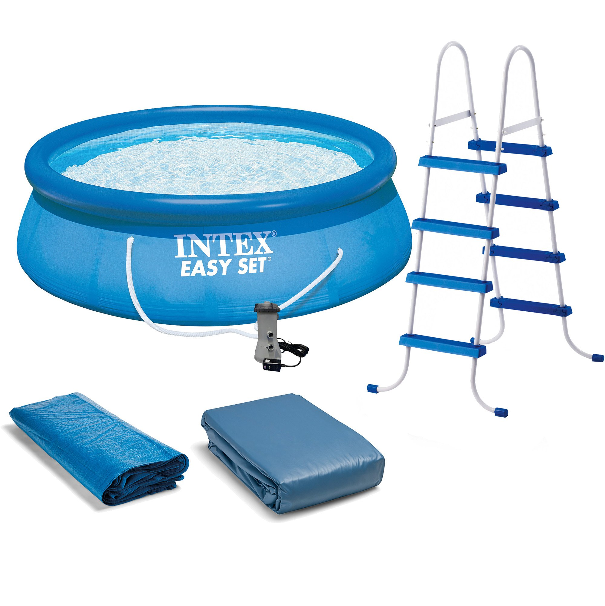 Intex 15 X 48 Inflatable Easy Set Above Ground Swimming Pool Ladder And Pump Walmart Com Walmart Com
